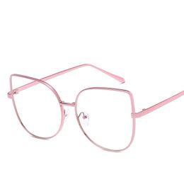 4365ee0043 Ladies Fashion Cat Eye Glasses Frames Women Pink Optical Eye Glasses Frame  For Women Clear Eyewear Computer Oculos Grau