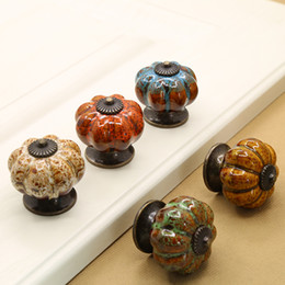 Wholesale Wholesale Door Pulls - 4cm Leopard Pumpkin Ceramic Door Pull Drawer Handles Furniture Antique Shell Knobs Tiradores De Cajón Home Decor Kitchen Accessories