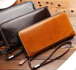 Wholesale Cheap Pocket Squares - Cheap leather wallets Men Long wallets single zipper wallets waxed real leather allowed for 5.5 inches Mobiles multi cards pockets