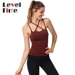 d76ccf5bc4bf5f LT068013 2018 New Pro Sports Fit Dry Top Fitness Gym Women Pads Vest Yoga  Tank No Rim Lady Hollow Cross Strap Y Back