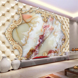 Wholesale Marble Wall Paper - beibehang photo wall paper European imitation marble mural wallpapaer roll bedroom 3d flooring mural wallpaper for living room