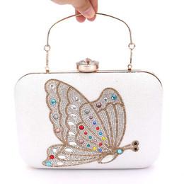 Porte-monnaie blanche en Ligne-Marque Designer Papillon Motif Blanc Pu Embrayage Soirée Sac Femmes Chaîne Mini Sacs À Main De Mode Sac À Main Embrayages bolsas