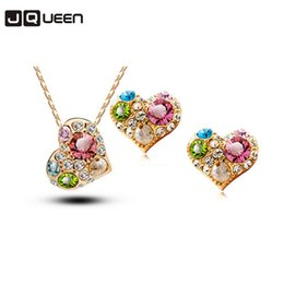 Argentina 2017 Rosa de oro de color de cristal de la boda nupcial colorido del corazón sistemas de la joyería ventas al por mayor de joyería de moda Suministro