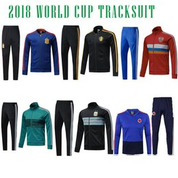 Wholesale Germany Red - 2018 COLOMBIA GERMANY ARGENTINA SPAIN RUSSIA BELGIUM tracksuitS training suit skinny pants Sportsw
