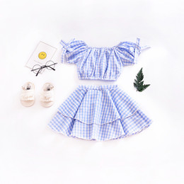Wholesale Short Pleated Plaid Skirt - Wholesale summer clothes Boutique baby Kids Girls suit blue plaid bowknot blouse pleated cake skirt suit Clothing Sets 1905