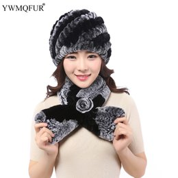 Wholesale Black Rex Rabbit Fur Scarf - Winter Hat scarf suit New Knitted genuine natural rex rabbit fur hat headgear for women with warmer fur scarves YWMQFUR