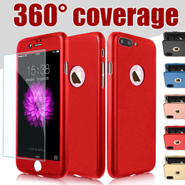 Wholesale Blue Iphone Case Pc - 360 Degree Full Body Protection Hard PC Full Cover Body Cover Case For Iphone X 8 7 Plus 6S SE Samsung S8 Plus With Tempered Glass MOQ:10pcs