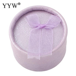 Wholesale Round Box For Ring - 24PCs Wholesale Jewelry Box Ring Organizer Box Cardboard gold red purple Round Ring Box For Women Wedding Gift Boxes Packaging