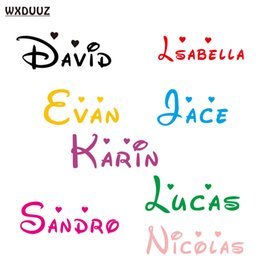 Wholesale wall decals personalized name - Customized Personalized Name Children Home Decor Nursery Kids Room Vinyl Sticker Decal Removable Wall Art Sticker C08