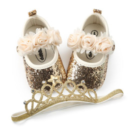 bling flowers wholesale Promo Codes - 2PCS Set Bling PU baby shoes + Elastic Crown headband flower first walker girls shoes mary jane party decoration soft soled