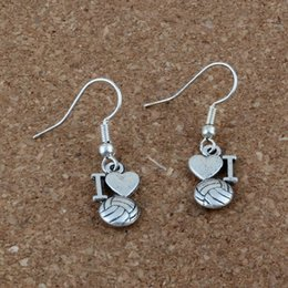 Wholesale I Earrings - Hot ! 20 pair Antique silver * I Love Volleyball * heart Charms Earrings With Fish hook Ear Wire