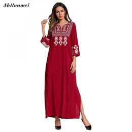 Abaya xl online-Muslimische Frauen Langarm Hijab Kleider Maxi Abaya Jalabiya Islamische Frauen Kleid Robe Kaftan Marokkanischen Sticken Floral Langes Kleid