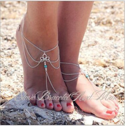 Wholesale Tassel Anklets - barefoot anklet chain with toe ring Simple fashion retro hollow pattern Turquoise Beaded tassels Fingerless Anklet female beach