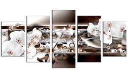 Orquídeas pinturas lienzo online-5 Piezas Impresiones en Lienzo Pinturas Flor de Orquídea Blanca Foto Impresiones Obras de Arte Moderno para el Hogar Offiec Sala de estar Decoración Sin Marco Regalos