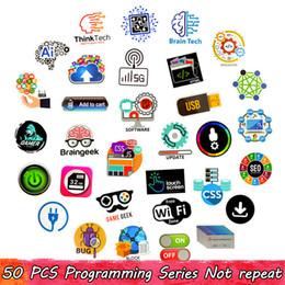 программное обеспечение для планшетов Скидка 50 ШТ. Водонепроницаемый Программный Язык Наклейки Пакет Html Software Автомобильные Наклейки для Подростков Взрослых для DIY Ноутбук Планшетный Телефон Динамик PS4 Игрушки Подарки