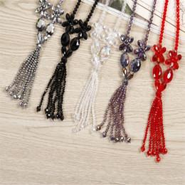 Wholesale Necklace Black Crystal Flower - Fashion Long Necklace New Classic Crystal Flower Bib Tassel Necklaces Sweater Necklaces & Pendants Gift Mix Colors ZX