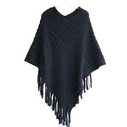 Wholesale Ladies Sweater Shawls - Autumn Clothes Shawl Scarf Sweater Women Women Cardigan Ladies Cape Coat Fringe Poncho Oblique Stripe Coat Bohemian New