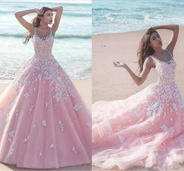 Vestido de baile branco lavanda on-line-2018 New Pink Quinceanera vestido de baile vestidos de colher de pescoço de tule com flores de renda branca apliques longos Sweet 16 Sweep Train festa Prom vestidos
