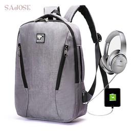 Wholesale solid plugs - Unisex USB Charge Backpack Women Headphone Plug School Multi-functional Casual Bags College Teenage Male 15inch Laptop Backpack