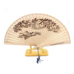 Deutschland Chinesische Faltfächer 9 Zoll (23cm) geschnitzter duftender Ventilator Dekorativer Kunsthandwerksdame-Mädchenfächer DL_HF001 Versorgung