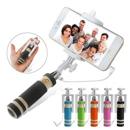 Wholesale S3 Mini Phones - Mini S3 Selfie Stick Wired Groove Monopod Built-in Shutter Extendable Selfie Stick For iPhone Samsung Any Phones Camera with retail pacakge