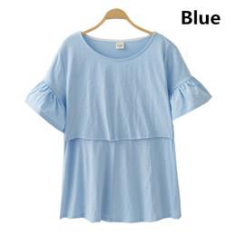 Pflegekleidung tragen online-Mutterschaft Baumwolle Schwangerschaft Kleidung Umstandsmode Mutterschaft T-Shirt Tops Pflege Stillen Kleidung für schwangere Frauen Tees Wear