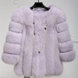 Wholesale Mink Overcoat - 2017 6XL Fox Fur Coat Women Winter coat Medium Long Luxury Fur Female Jacket Overcoat Mink
