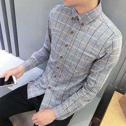 7a8d33d2bf9 Plaid Men Shirts Slim Fit Mens Casual Dress Shirts Social Mens Plus Size Pink  Camisas Hombre Manga Larga 5xl Stylish Club