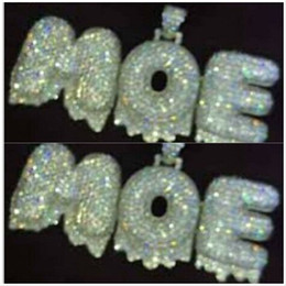 Wholesale rope slides - New!!!A-Z Custom Name 0-9 Bubble Letters Special exaggerate Edge Necklaces & Pendant Charm For Cubic Zircon Rope Chain Hip Hop Jewelry Gifts