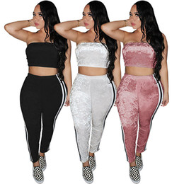 a04484c1bf9 2018 fall bodycon pants suits Wrapped chest Crop Top Trousers women clothes  two piece sets casual tracksuit plus size sexy Nightclub S-2XL