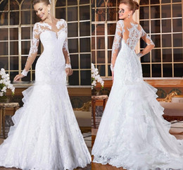 Wholesale fishing buttons - 2018 White Elegant Sheer Neck Lace Mermaid Wedding Dresses Appliques Illusion Long Sleeves Fish Tail Plus Size Custom Made Bridal Gowns