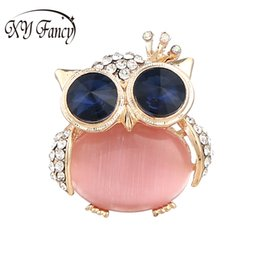 Wholesale wholesale bling brooches - DreamBell Colorful Bling Cat Eye Stone Owl Brooches Dress Jewelry Accesories Christmas Gifts for Women