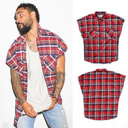 Meninos botão top on-line-Chegada nova dos homens de Flanela Xadrez Camisa Sem Mangas Botão-Up Lado Zíper Casual Camisa Júnior Meninos Hipster Hip Hop Vest Tops