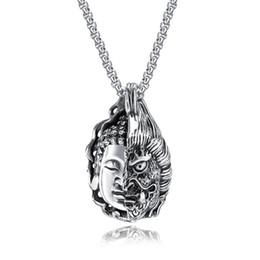 2019 jóias de aço inoxidável de buda Chegada nova Homens Colar Bom E Mau Estátua de Buda Pingente De Aço Inoxidável Fantasma Colar Para Homens Box-cadeia de Moda Jóias jóias de aço inoxidável de buda barato