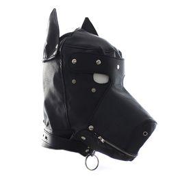 Pansements oculaires en cuir en Ligne-Faux Cuir Fétiche Animaux Jeu Capot Doggy / Puppy Appui-Tête Masque Rôle Jeu Costume Costume Avec Eyes-Patch Mouth Zipper sexy