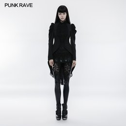 Wholesale gothic long skirts women - PUNK RAVE 2018 New Arrivals Fashion Women Coat Gothic Gorgeous Vintage Long Coat Lace Covered Buttons Puff Mutton Sleeve