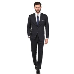 Argentina Nuevos 2018 trajes de los hombres negros flacos trajes de boda por encargo del novio negocio Slim Fit simples esmoquin formal Blazer fiesta de graduación chaqueta + pantalones cheap tuxedo slim skinny blazer Suministro