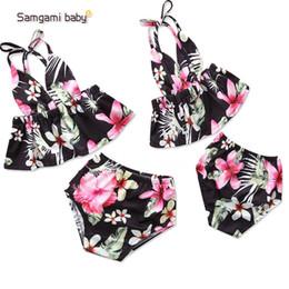 bikinis de pescado Rebajas 2018 moda venta caliente niña niños estampado de flores verano honda bikini verano niña lindo shell top + fish scale traje de baño corto envío gratis