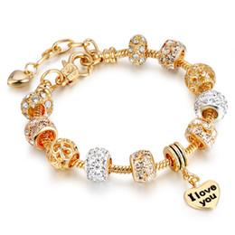 Wholesale Big Hole Pearls - European and American popular pan style fashion DIY alloy big hole bead hand chain Austria crystal pearl jewelry
