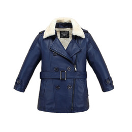Wholesale Duck Down Jackets For Boys - causal kids jacket coat solid thick velvet leather PU jacket coat for 3-14yrs children students boys girls outerwear fur leather coat