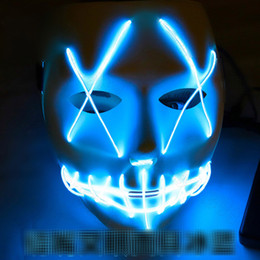 led luce fantasma Sconti 10 colori EL Wire Ghost Mask 2018 New Slit Mouth Light Up Glowing LED Mask Maschere di Halloween Cosplay Party B