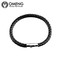 hand bracelet accessories Coupons - OMENG New Fashion Men's Fine Jewelry Black Leather Hand Chain Vintage Accessories Man Bracelets & Bangles OSL161