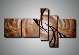 Gruppi di arte del gruppo online-100% dipinto a mano 5 pezzi gruppo tela pittura a olio su tela bellezza citazioni belle dipinti ad olio su tela arte natura pittura decoratio