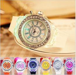 Wholesale Geneva Diamonds - Luxury Geneva LED Luminous Watch Unisex Diamond Rhinestone Night Light Wrist Watches Men Women Silicone Wristwatch Gleamy Quartz Watch 2018