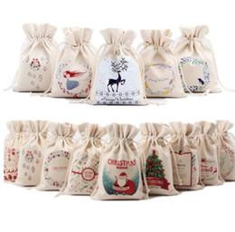 Wholesale design santa - Christmas Gift Bag Pure Canvas Drawstring Sock Bags With Xmas Santa Design For Gifts Candy package Santa Claus Drawstring Bag KKA5636