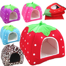 Wholesale House Dog Kennels - Strawberry shape Soft Cat Dog House Cute Foldable Corduroy mini pet Bed warm Animal Cave Nest Puppy Dog Kennel Cute Pet Cat Dog House