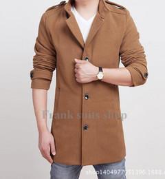 Custom made 2017 Bej yün ceket kış ceket tek göğüslü uzun kollu erkek moda Takım Elbise ceket bezelye cheap pea suit nereden bezelye tedarikçiler