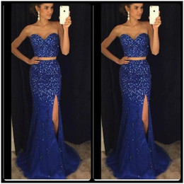 Wholesale Spark Light - 2018 Sparking Royal Blue Two Piece Mermaid Prom Dresses Major Beading Crystal Sweetheart Side Split Sweep Train Evening Cheap Party Gowns