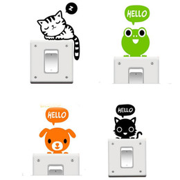 Wholesale generation sticker - Switching Removable Wall Stickers Free Shipping Cute Cartoon Kitten-Generation Switch Switch Stickers PVC