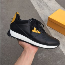Wholesale Fun Shoe Laces - 2018 Top Quality FD Luxury Brands FUN FUR designer sneaker shoes genuine leather Gift mens women Racer Hot sale Sports casual boots New38-46